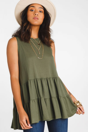 Sleeveless Tiered Tunic, Olive