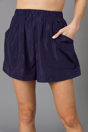 Smooth Sheen Shorts, Navy
