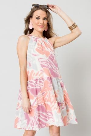 Printed Dye Dress, Blush