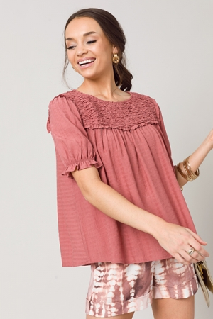 Sweet Scrunch Smock Top, Ginger