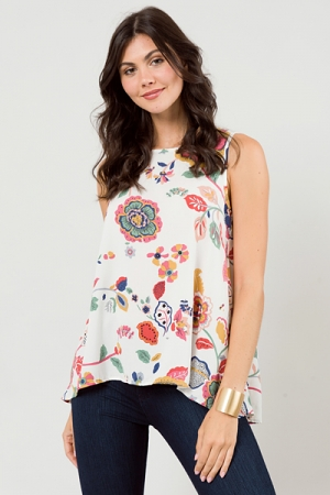 The Essential Tank Top, Ivory Floral