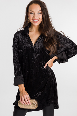 Crushed Velvet Shirt Dress, Black
