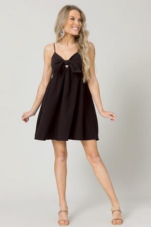 Bow Front Pocket Dress, Black