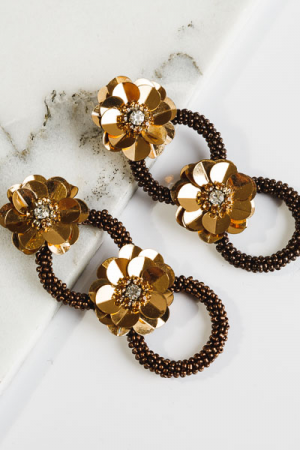 Flower Ring Earrings, Bronze