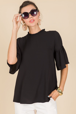 Kathryn Crepe Blouse, Black