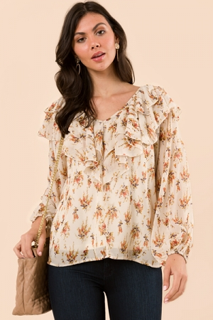 Double Ruffle Floral Blouse, Natural