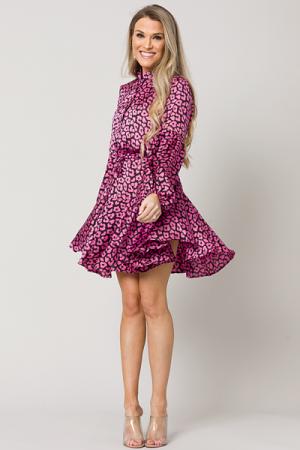 Silky Leopard Dress, Magenta