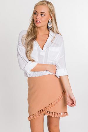 Tassel Mini Skirt, Rust