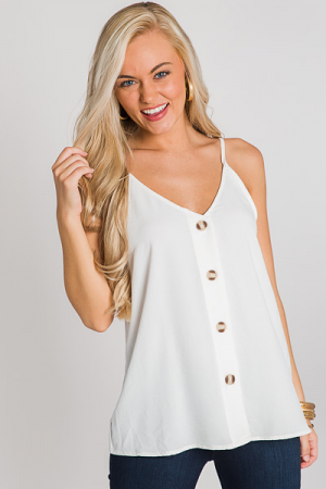 Buttoned Up Cami, Off White