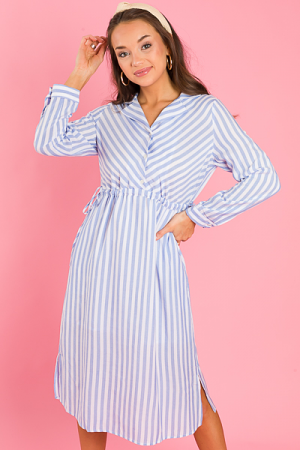 Cinched Waist Shirtdress, Blue