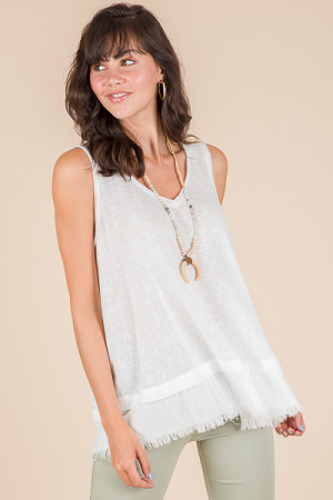 Fray Away Top, Off White