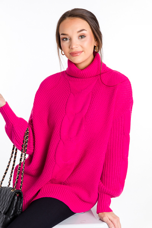 Cable Center Sweater, Hot Pink