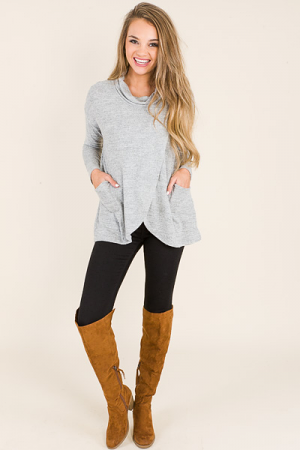 Cowl Neck Wrap Tunic, Grey