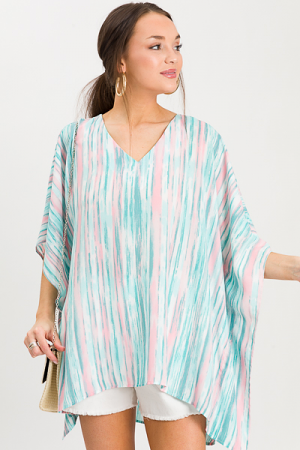 Amy V Tunic, Jade/Blush Stripe