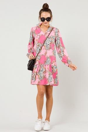 Classical Pink Shift Dress