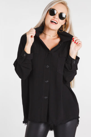 Frayed Button Down, Black