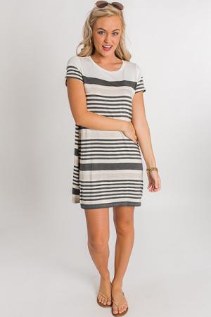 Neutral Stripes T-Shirt Dress