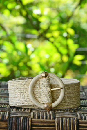 Wrapped Buckle Belt, Ivory