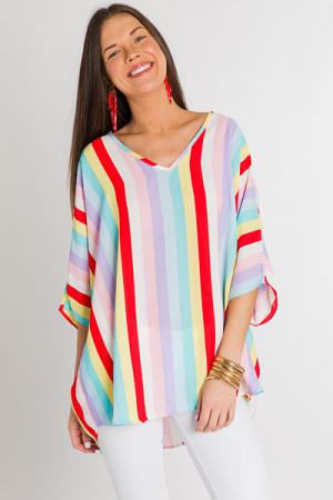 Favorite Boxy Tunic, Rainbow Stripe