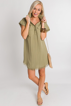 Frayed Trim Shirt Dress, Olive