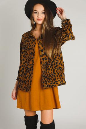 Camel Corduroy Cheetah Jacket