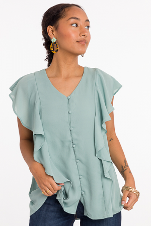 Covered Buttons Blouse, Sage