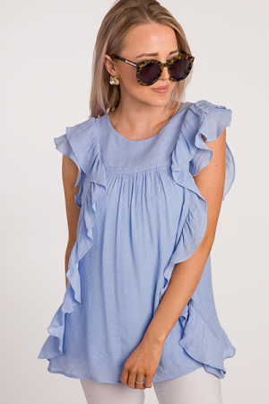 Caroline Ruffle Blouse, Blue