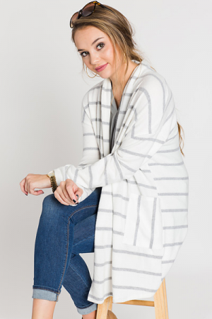 Casual Fling Striped Cardi, White