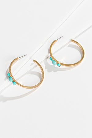 Turquoise Trio Hoops