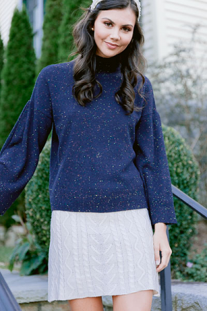 Willa Turtleneck Sweater, Navy