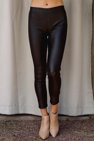Metallic Slim Pants, Shiny Black
