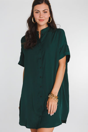 Satin Button Front Dress, Green