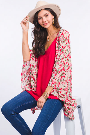 Red Rosie Chiffon Kimono