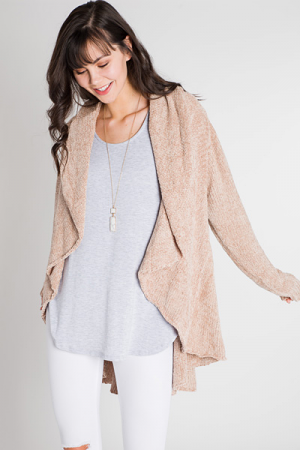 Waterfall Chenille Cardi, Taupe