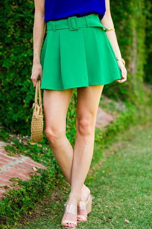 Green Belted Skort