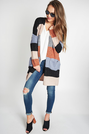 Earthy Striped Cardigan
