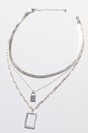 Clear Herringbone Necklace, Silver
