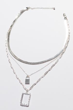 Clear Herringbone Necklace, Silver