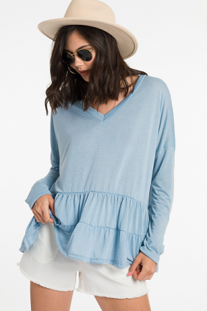 Mailee Tiered Top, Blue
