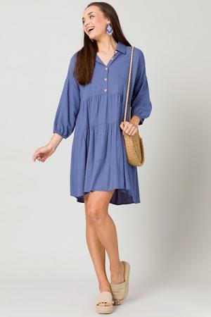 Linen Collar Dress, Dusty Blue