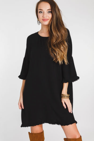 Oversized Pocket Frock, Black