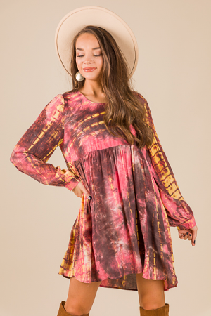 Dyed Babydoll Dress, Pink