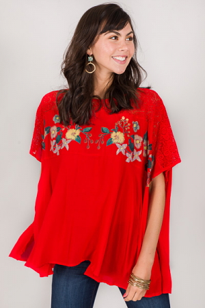 Flower Stamp Top, Red