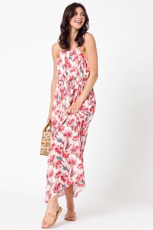 Floral Tie Belt Maxi, Ivory