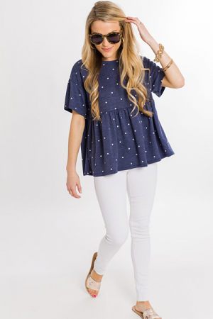 Dotted Babydoll, Navy