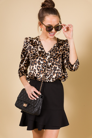 Puff Sleeve Leopard Blouse