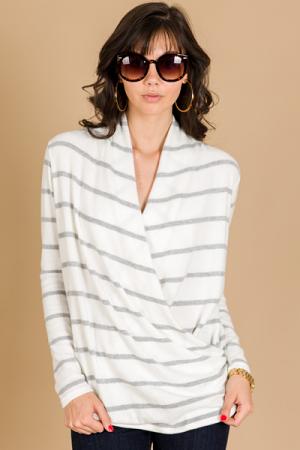 Fleece Stripes Wrap Top