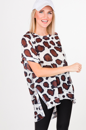 Burnout Leopard Top, White
