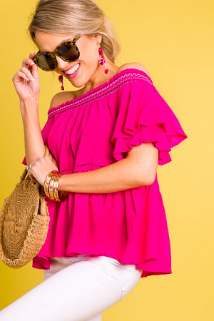 Fuchsia Feels Off Shoulder Top