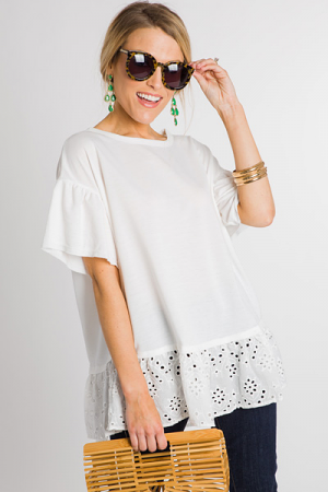 Eyelet Bottom Tee, White